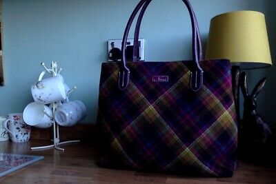 Ness Bag Country Walk Classic Wool Mix Plaid Design In Purples,pinks,green,blue • 34.99£