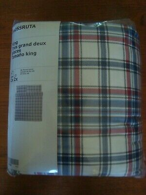 IKEA King Bedding Quilt Cover W/ 2 Pillowcases Warm Soft Tartan Brushed Flannel  • 49.30£