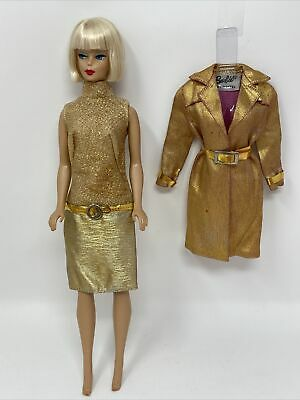 $ CDN129.74 • Buy Vintage Barbie Clothes Outfit #1421 INTRIGUE Gold LAME COAT Dress VARIATION #2
