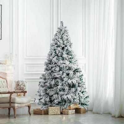 Artificial White Snowflacked Christmas Tree 5ft Pop Up Fluffy Xmas Decoration UK • 29.99£