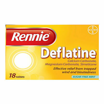 Rennie Deflatine Trapped Wind Bloatedness Relief Tablets Sugar-Free Mint - 18 • 4.68£