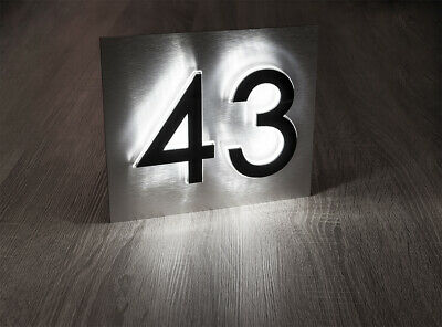 Exclusive LED Edge Lit House Number On A Floating Plate. Illuminated House Signs • 65.99£
