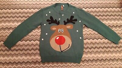 Boys Christmas Jumper Green Rudolph Reindeer 11-12 Years From Peacocks • 1£