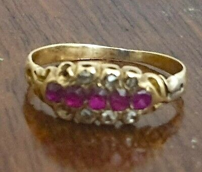 Antique Georgian Small Ruby Diamond Red Gold Ring Size H  US 3 3/4 Childs 19thc  • 119.99£