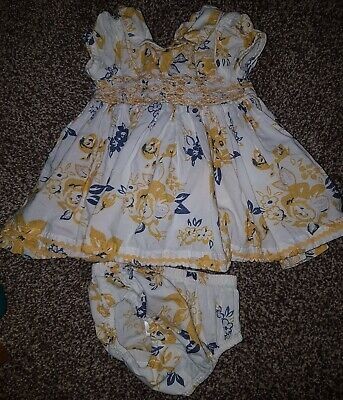 Next Baby Girl 0-3 Months Dress Knickers Set Yellow Cream Lined100%cotton Floral • 1.50£