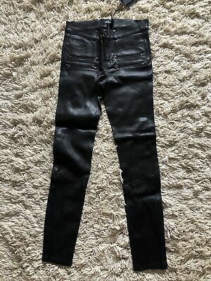 Paige Black Real Leather Skinny Stretchy Jeans W27 L28 Net A Porter Luxury • 13.50£