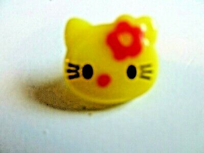 10 Yellow Cat-kitty Shaped Buttons With Red Flower Dressmaking/craft/sewing Etc • 0.99£