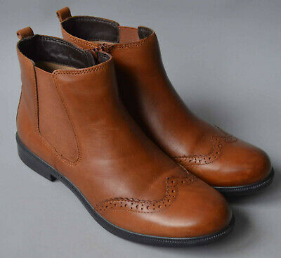 Ladies Hotter County Tan Leather Brogue Chelsea Boots Size UK 5 • 10.50£