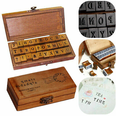 30 Piece Retro Alphabet Letter Uppercase Lowercase Wooden Rubber Stamps Set UK • 7.39£