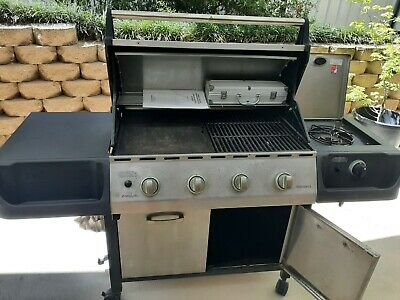 AU150 • Buy BBQ Brunswick Everdure Gas BBQ 4 Burner With Side Wok Burner