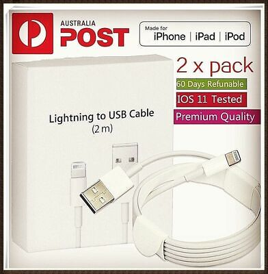 AU10.98 • Buy 2X 2m Lightning Charger Cable Compatible Apple IPhone 5 6 7 S 8 X IPad