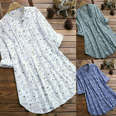 AU19.75 • Buy Womens V Neck T Shirts Floral Tunic Tops Blouse Casual Loose Basic Tee Plus Size