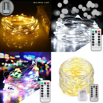 10M 100LED Battery Micro Rice Wire Fairy String Lights With Timer Remote Control • 9.79£