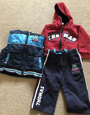 Thomas The Tank Engine Set Trousers Jacket And Bodywarmer Age 9-12 Months • 4£