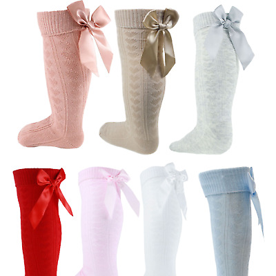 Girls Knee Length Socks With Hearts Pattern & Satin Bow Baby Toddler To 6years • 3.63£