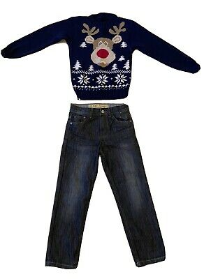 Boys' Jeans Denim & Co & Rudolph Reindeer Christmas Jumper Age  7 - 8 Years • 0.99£