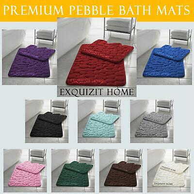 Pebbles Bath Mat Pedestal Memory Foam Set Non Slip Soft Toilet Bathroom Rugs 2pc • 7.99£
