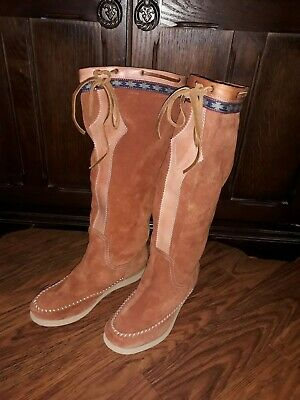 Superdry Rrp £89.99  Suede Leather Womens Tan Brown Boots Moccasin Size 5 New . • 40£