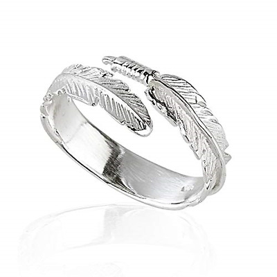 Solid 925 Sterling Silver Angel Wing Feather Adjustable Ring Size L-R Gift Boxed • 11.74£