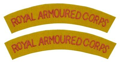 WW2 British Army Royal Armoured Corps Shoulder Titles Patches Badges • 8.95£