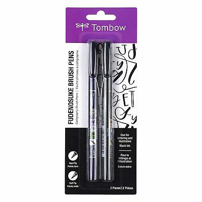 £7.68 • Buy Tombow 62038 Fudenosuke Brush Pen With Soft And Hard Tip, Black, 2 Pieces