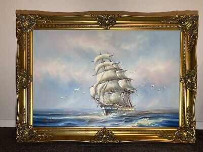 Mydan Oil Painting On Canvas Hand Painting Ship At Sea Framed Large Stunning • 1,800£