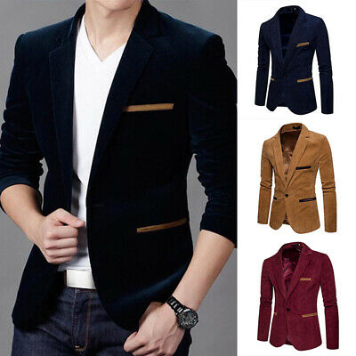 $ CDN37.94 • Buy Luxury Jacket Slim Tuxedo Suit Tops One Fit Business Men's Blazer Coat Button