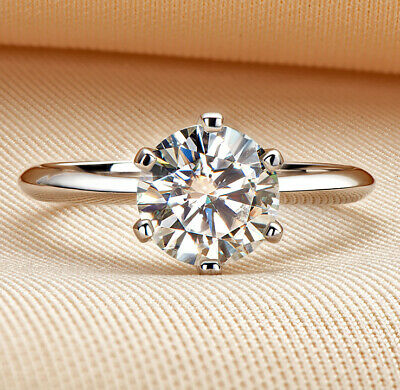 AU99.99 • Buy GRA Certificated Real 2CT Moissanite Diamond Wedding Engagement Platinum Ring R2