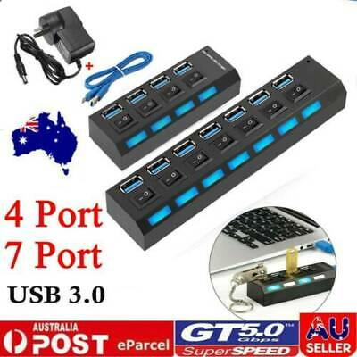 AU16.14 • Buy 4/7 Port High Speed Multi USB Hub USB 3.0 With Power Supply And Switches