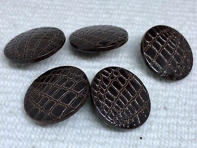 £1.25 • Buy Buttons X5 - Round Shank Mock Croc Style - Larger Brown Plastic