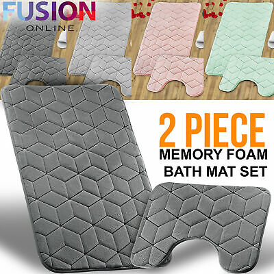 Bath Mat Pedestal Memory Foam Set Non Slip Bathroom Mats Ultra Soft Toilet Rugs • 9.49£