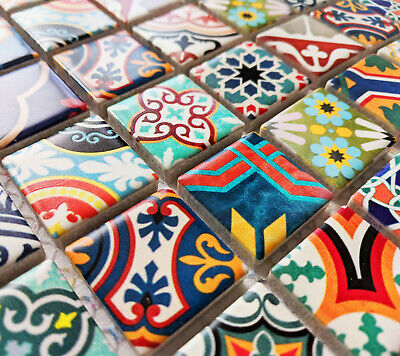 Modern Style Multi Colour Ceramic Square Mosaic Tiles Moroccan Turkish Geometric • 8.98£