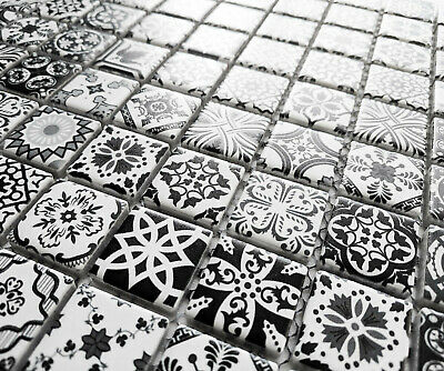 New Black & White Moroccan Style Ceramic Square Mosaic Tiles Turkish Geometric • 8.98£