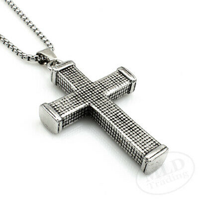 $9.49 • Buy Christian Mens Solid Heavy Gothic Latin Silver Cross Pendant Necklace Both Sides