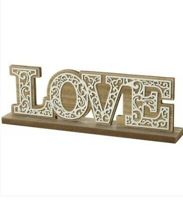 3D Love Free Standing Word Ornament Natural Wooden Home Modern Or Rustic Decor • 11.99£