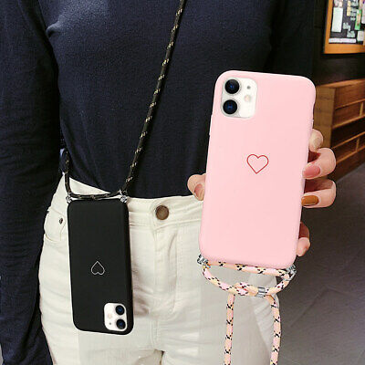 Case For IPhone 12 Pro Max 11 X XS XR 8 7 Heart Print Clear Soft Cover+Lanyard • 4.49£