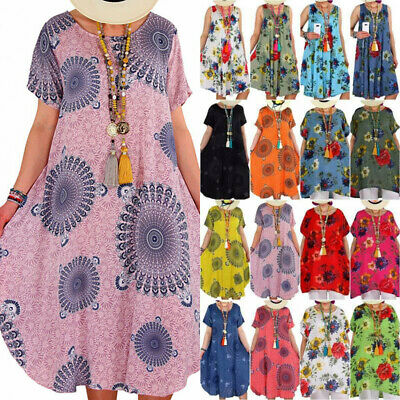 AU17 • Buy Plus Size Women Floral Baggy Tunic Kaftan Dress Holiday Summer Beach Sundress AU