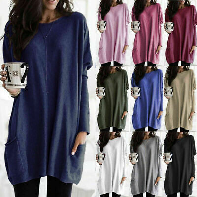 Womens Long Sleeve Casual Blouse Tops Ladies Baggy Loose Pullover Tunic T-Shirt • 8.49£