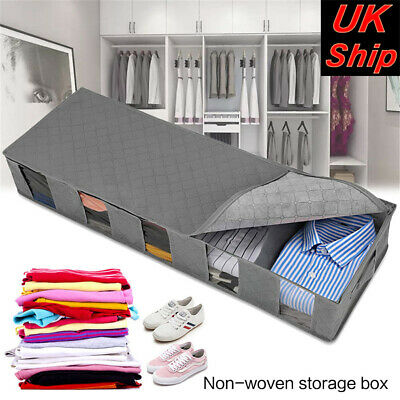 Large Capacity Under Bed Storage Bag Box 5 Compartments Clothes Organizer • 7.91£