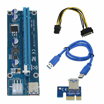 AU11.88 • Buy Pci-E Riser Pci E Express 1X To 16X Riser Card Usb 3.0 Pci-E Sata To 6Pin P B3C5
