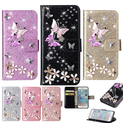 £5.69 • Buy Wallet Phone Case For Samsung S 6 7 8 9 Plus S10 S20 FE 3D Bling Butterfly Cover