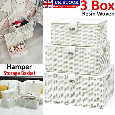 Set Of 3 Wicker Storage Baskets With Lid Lock Resin Woven Basket Gift Hamper Box • 18.95£