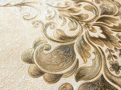 QUALITY CREAM GOLD EMBOSSED DAMASK CLASSIC FLORAL PATTERN 3D WALLPAPER 53cmX9.5m • 8.98£