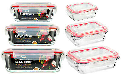 £12.99 • Buy Glass Food Storage Containers With Lids Airtight Borosilicate Rectangle