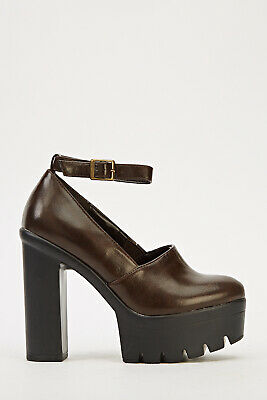 Ladies Brown Size 6 Ankle Strap Platform Women's Shoes • 4.99£