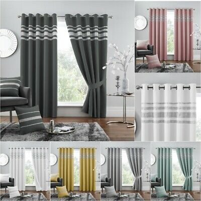 Kendal Diamante Thermal Blackout Curtain Pair Ready Made Eyelet Ring Top Curtain • 32.99£