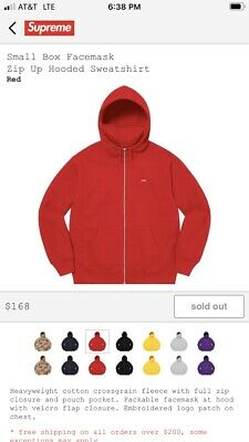 $ CDN284.74 • Buy Supreme Small Box Logo Zip Up Facemask Hoodie L Red Confirmed Authentic Ss20