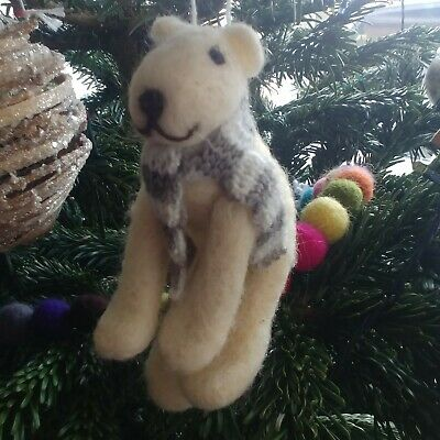 POLAR BEAR Pure Wool CHRISTMAS TREE DECORATION Knitted Scarf NEW From CoCo&Ned • 5£