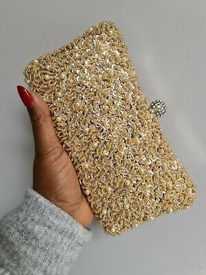 Vintage Style Beaded Clutch Bag - Gold • 45£