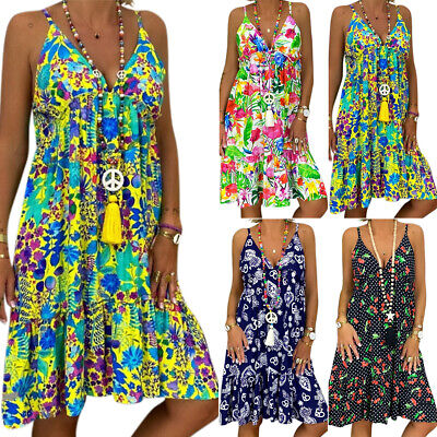 AU23.08 • Buy Plus Size Women Boho Floral Beach Strap Dress Summer Baggy Casual Tunic Sundress